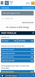 SugarHouse Sportsbook most popular sports mobile version section