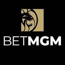 BetMGM white and gold logo on black background